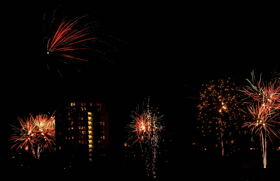fireworks, holiday, red