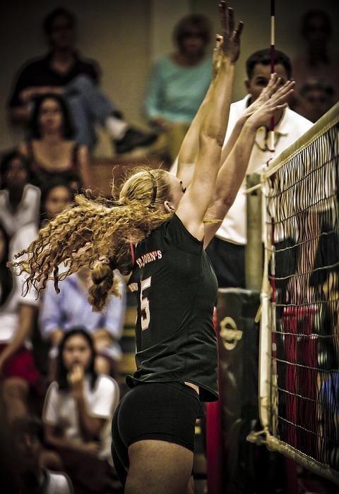 volleyball, girl, blocking