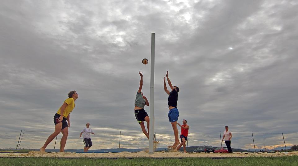 beach volleyball, clouds, ball