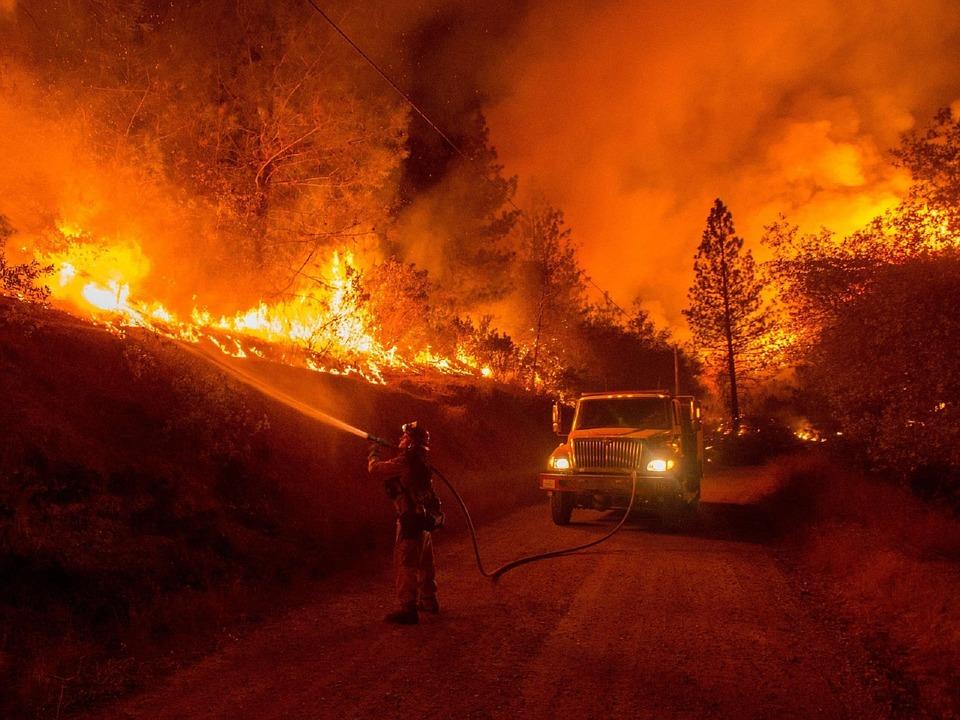 wildfire, firemen, fire
