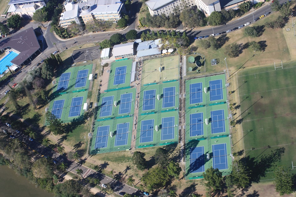 tennis, aerial view, tennis courts