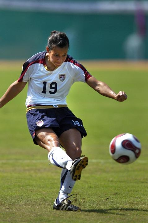 soccer, woman, kicking