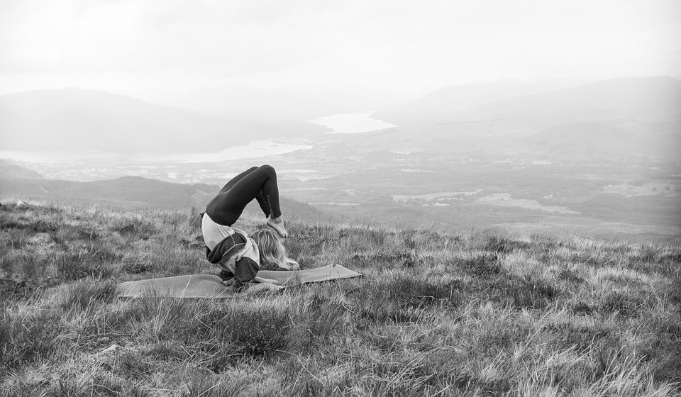 yoga, mountain, landscape