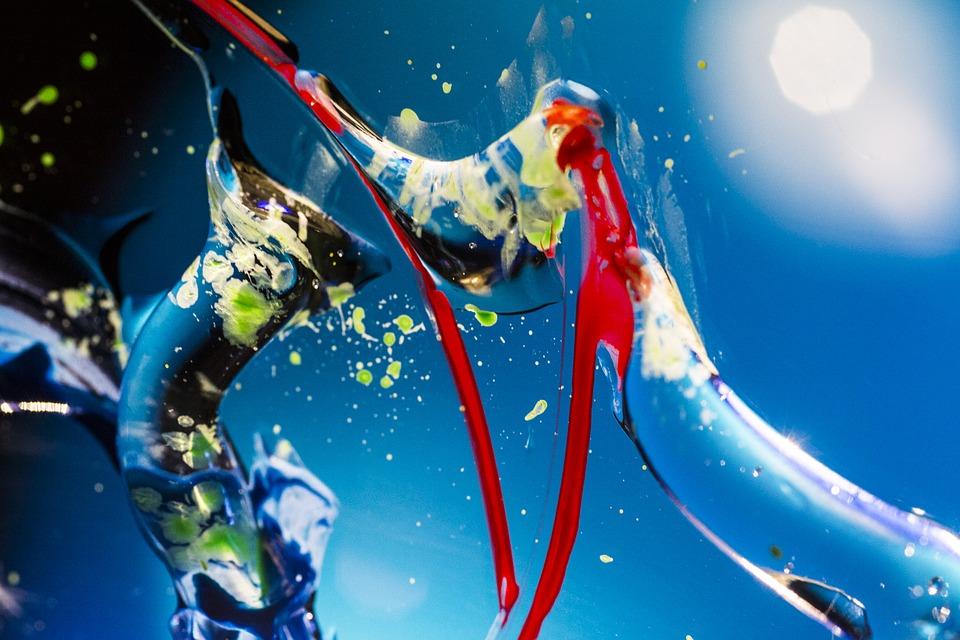 space, paint, blue