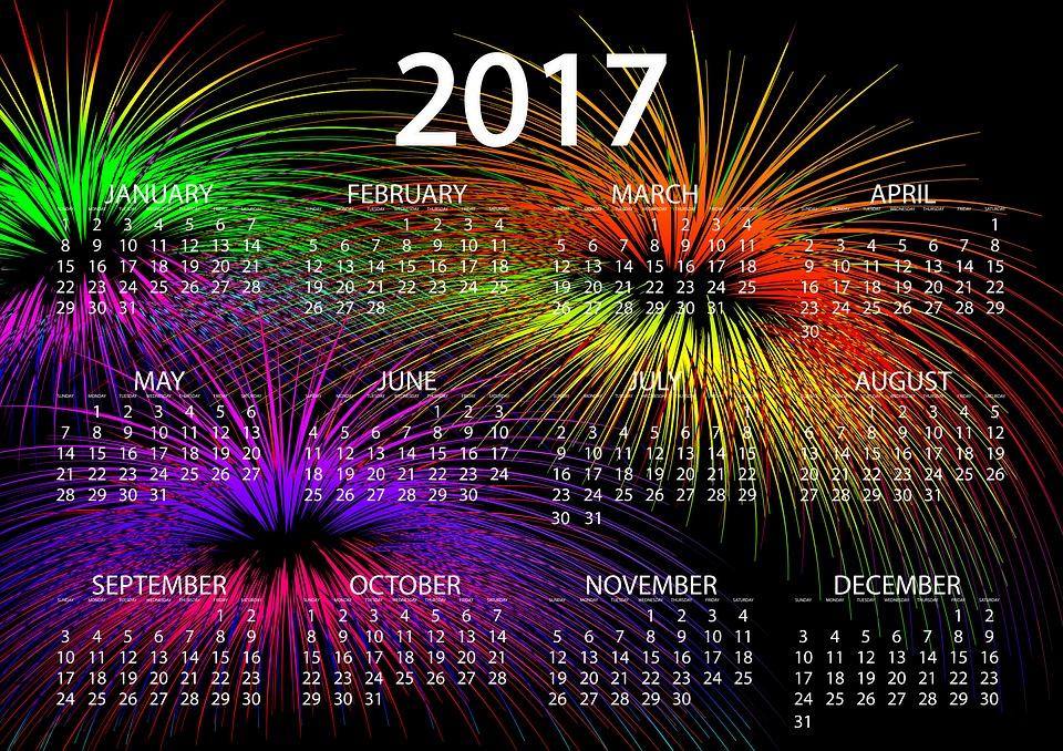 agenda, calendar, fireworks