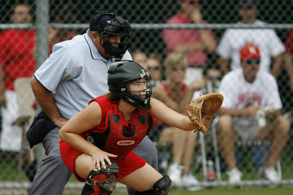softball, catcher, player