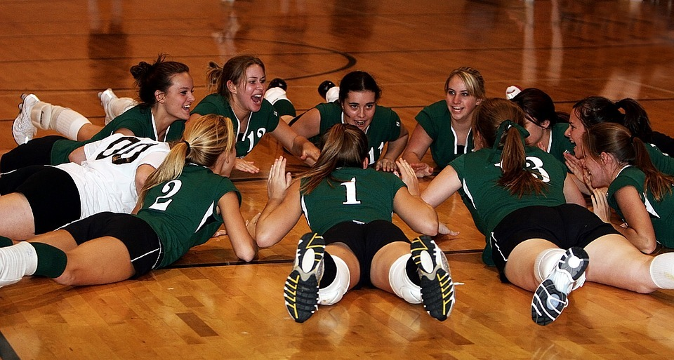 volleyball team, players, team mates