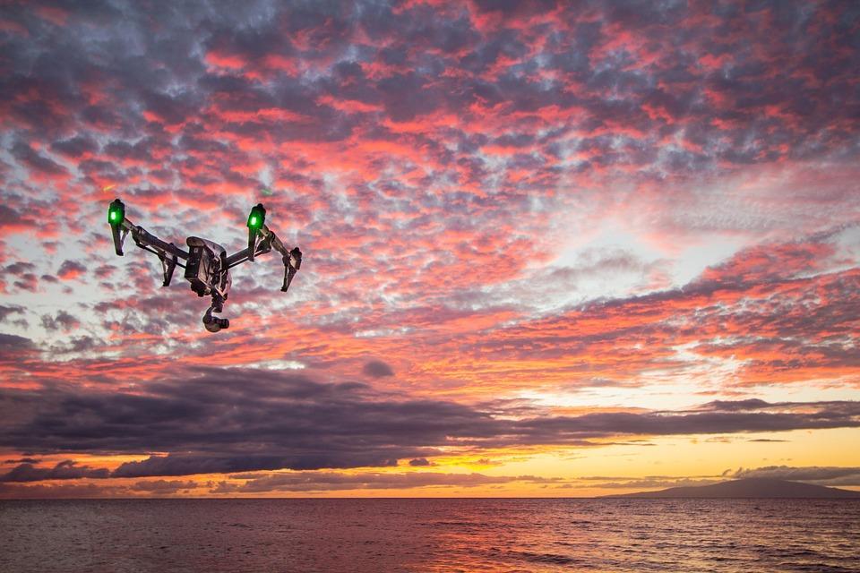 drone, sunset, dusk