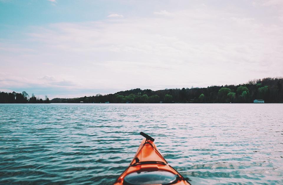 lake, water, kayak