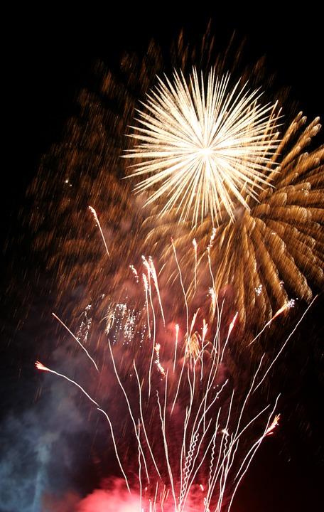 fireworks, rocket, light