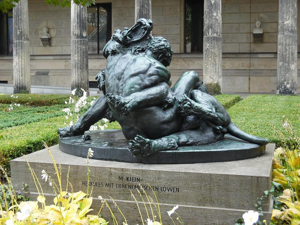 statue, berlin, wrestling