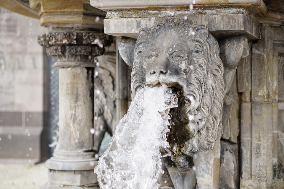 lion, water, gargoyle