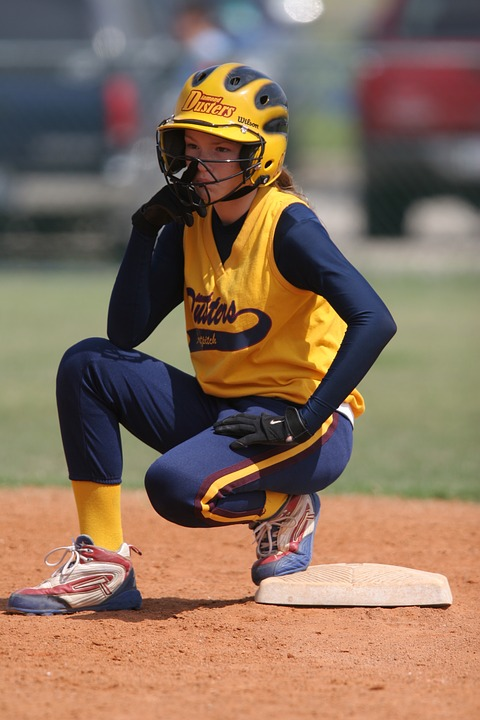 softball, player, runner