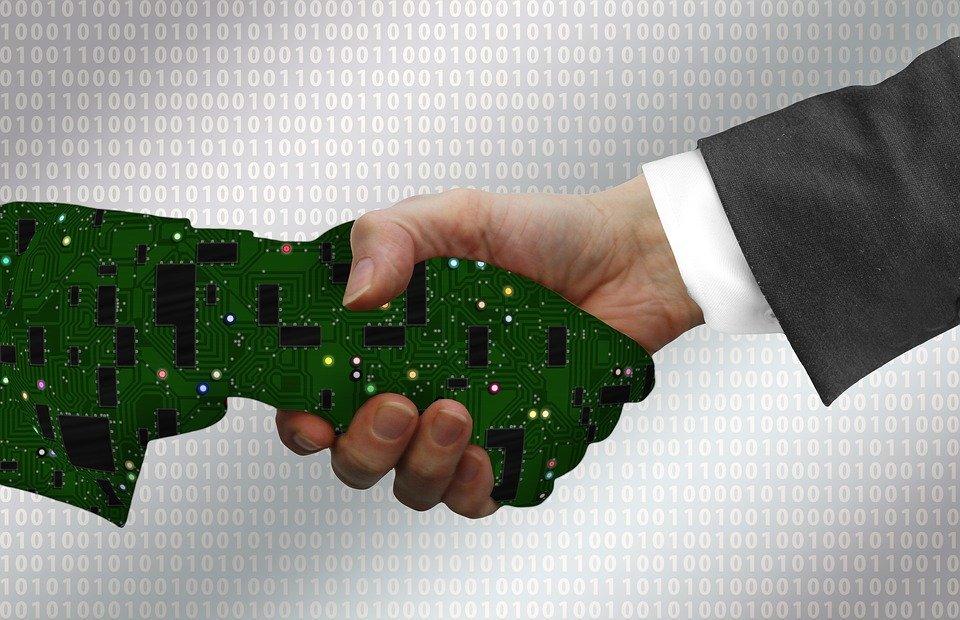 digitization, handshake, shaking hands