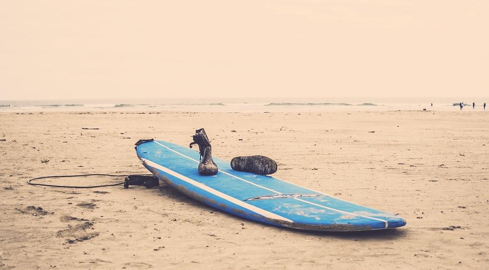 surfboard, beach, sand