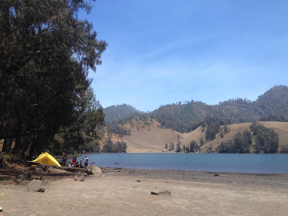 camping, lake, tent