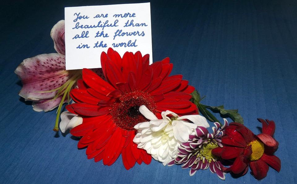 flowers, message, love