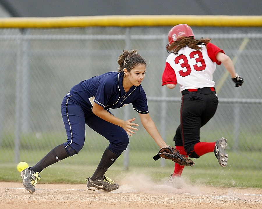 softball, action, girls