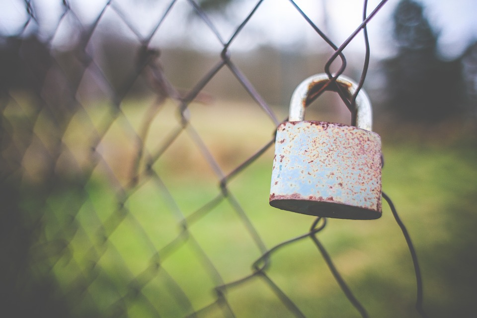 fence, lock, outdoors