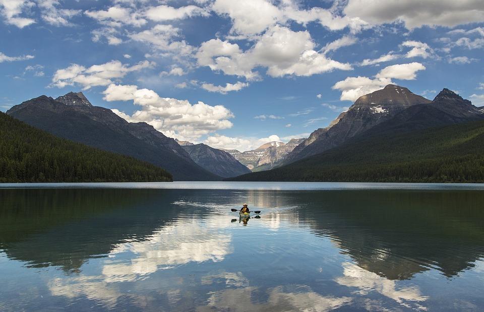 lake mcdonald, landscape, kayaking