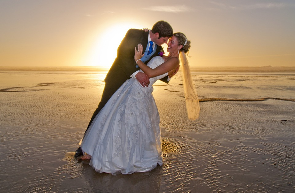 beach wedding, bride, groom