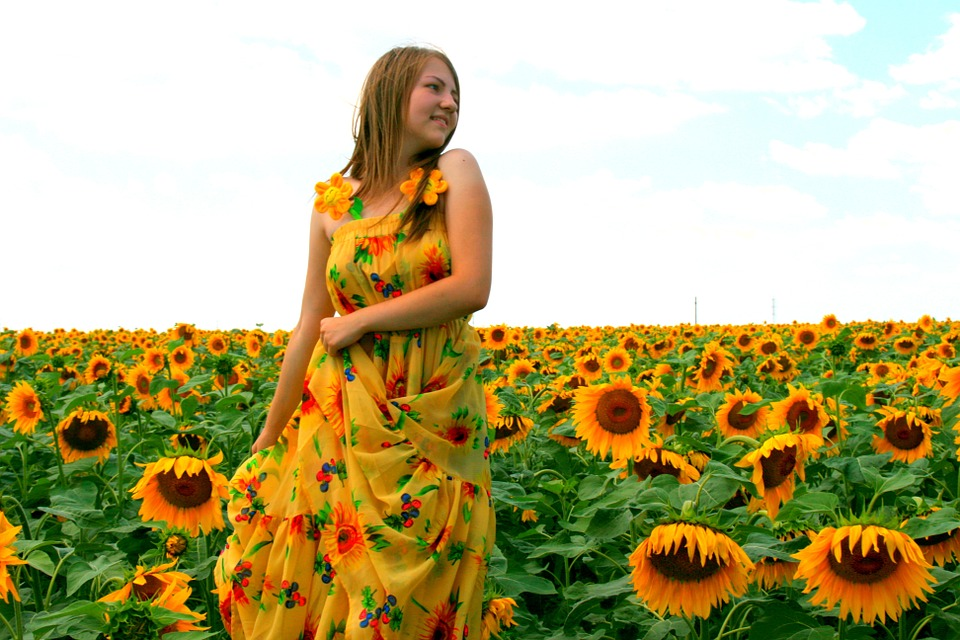 sunflower, girl, dress