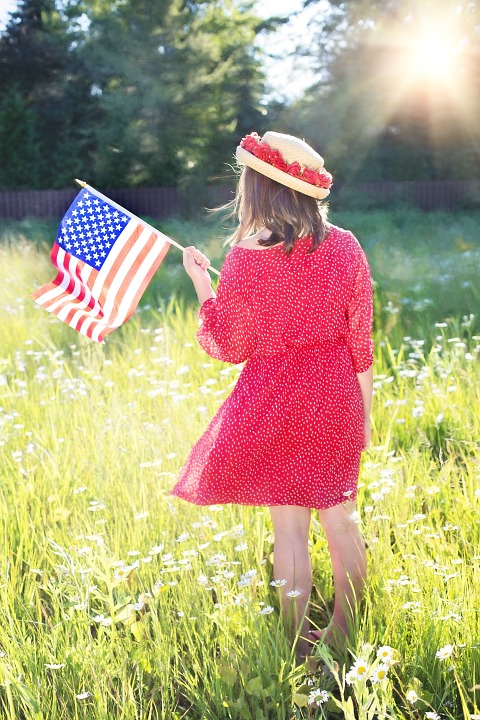 fourth of july, american flag, pretty woman