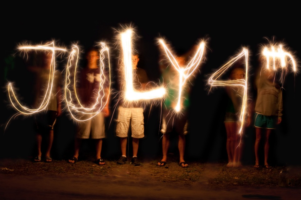 light painting, sparkler writing, fourth of july