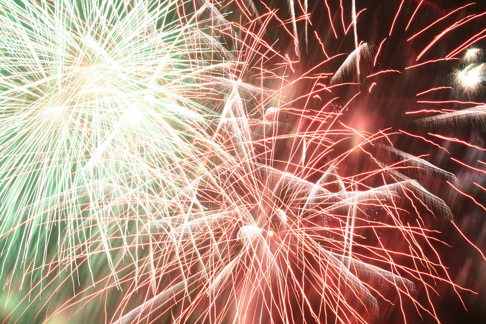 fireworks, rockets, explosion