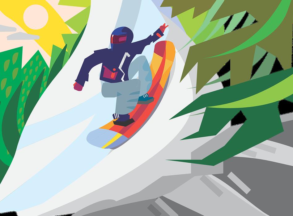 snowboard, snowboarding, sunny