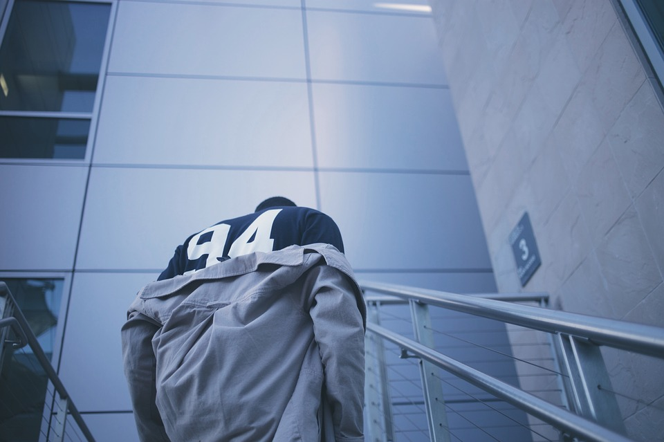 football player, staircase, blue