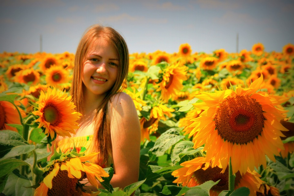sunflower, girl, yellow