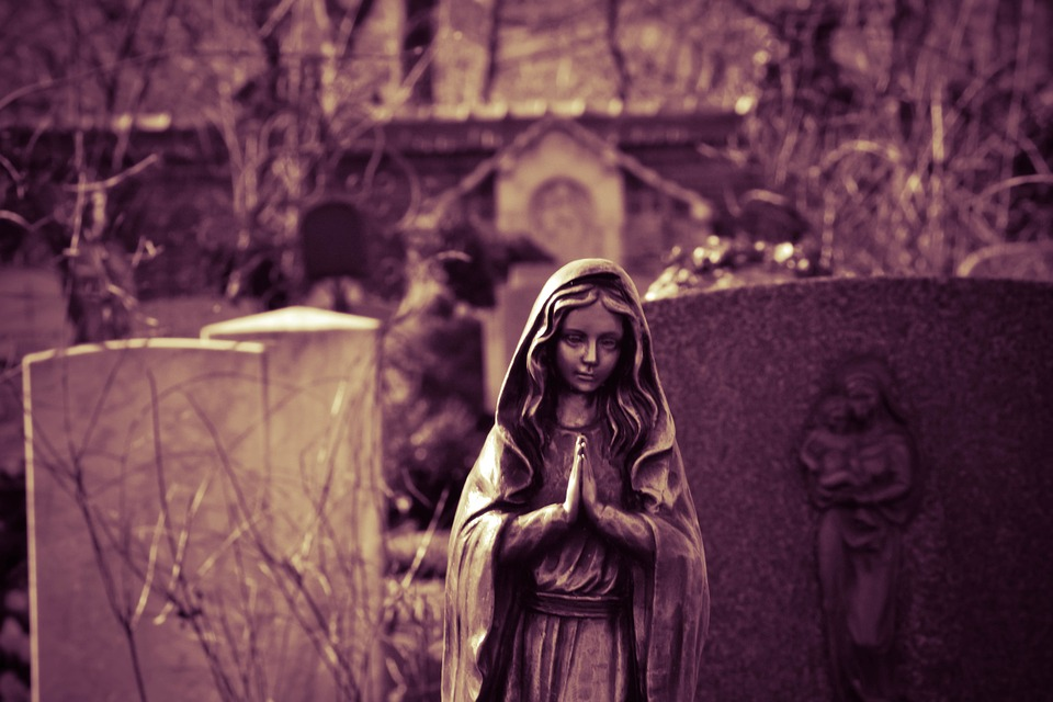 prayer, cemetery, maria