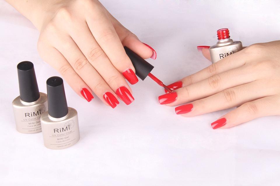 cosmetology, polishing, red