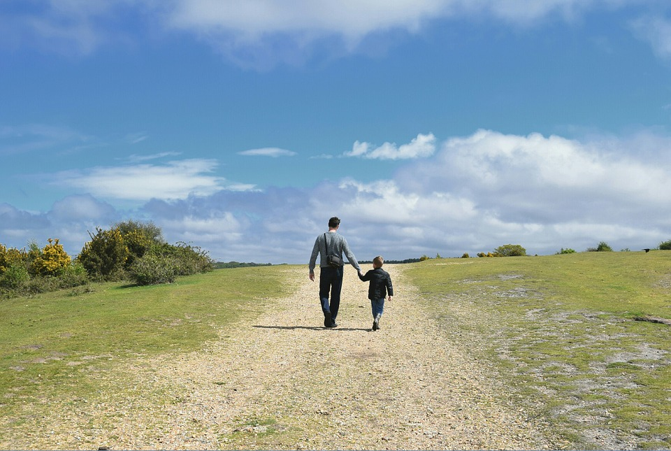 family, father and son, walking