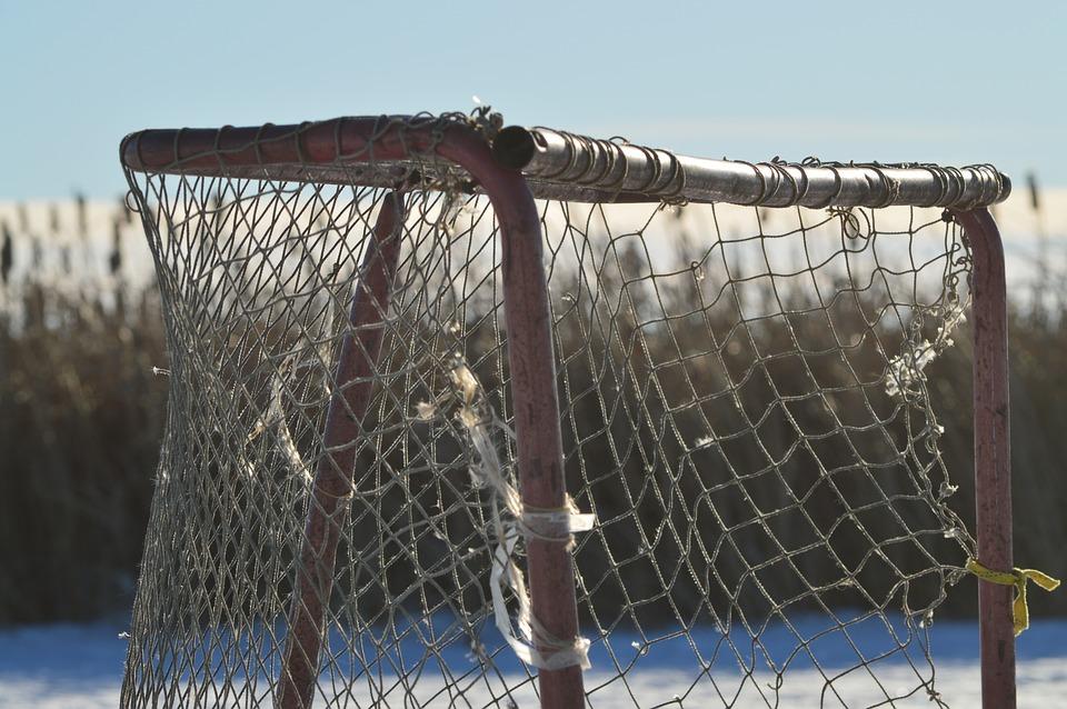 hockey net, ice, pond