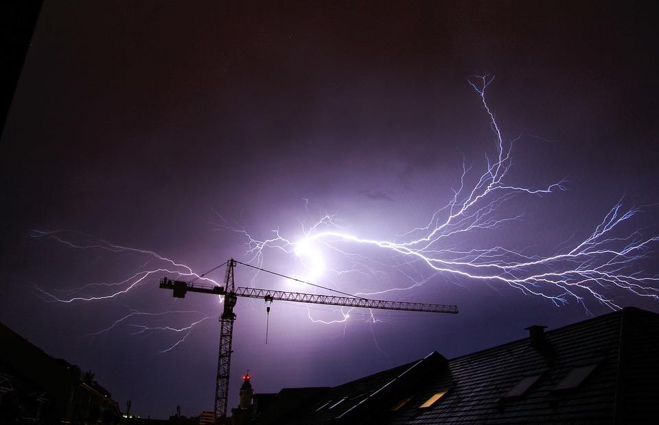 thunderstorm, flash, crane