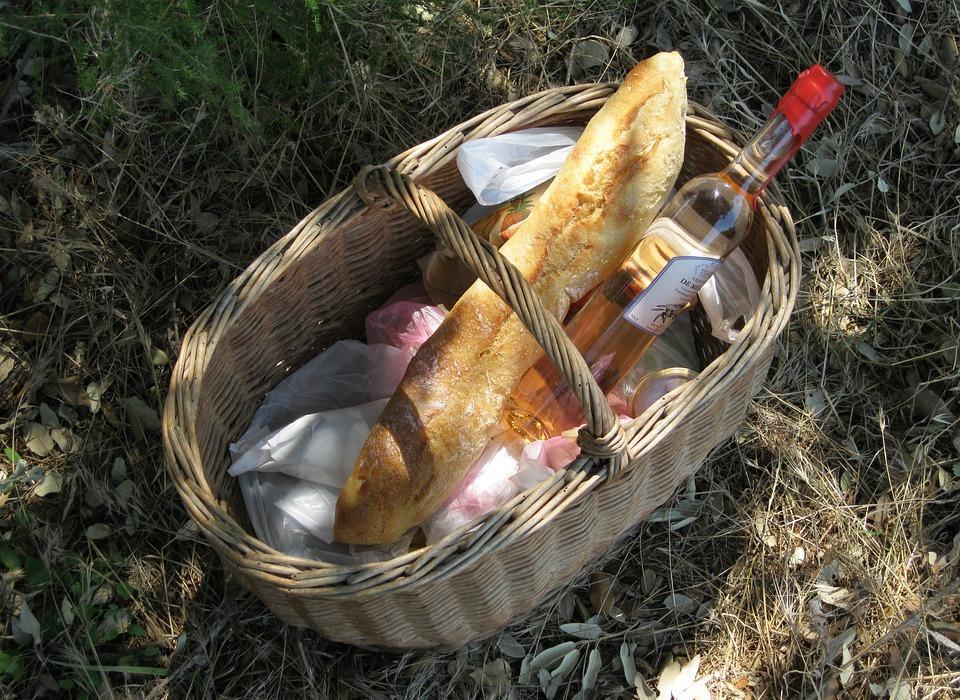 picnic, bread, wine