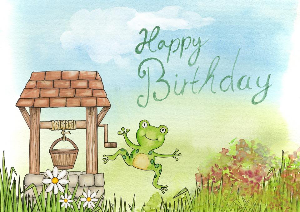 happy, birthday, frog