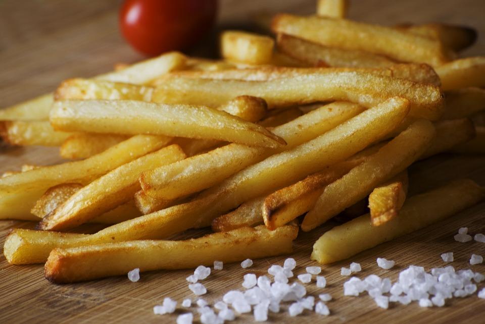 french fries, salt, food
