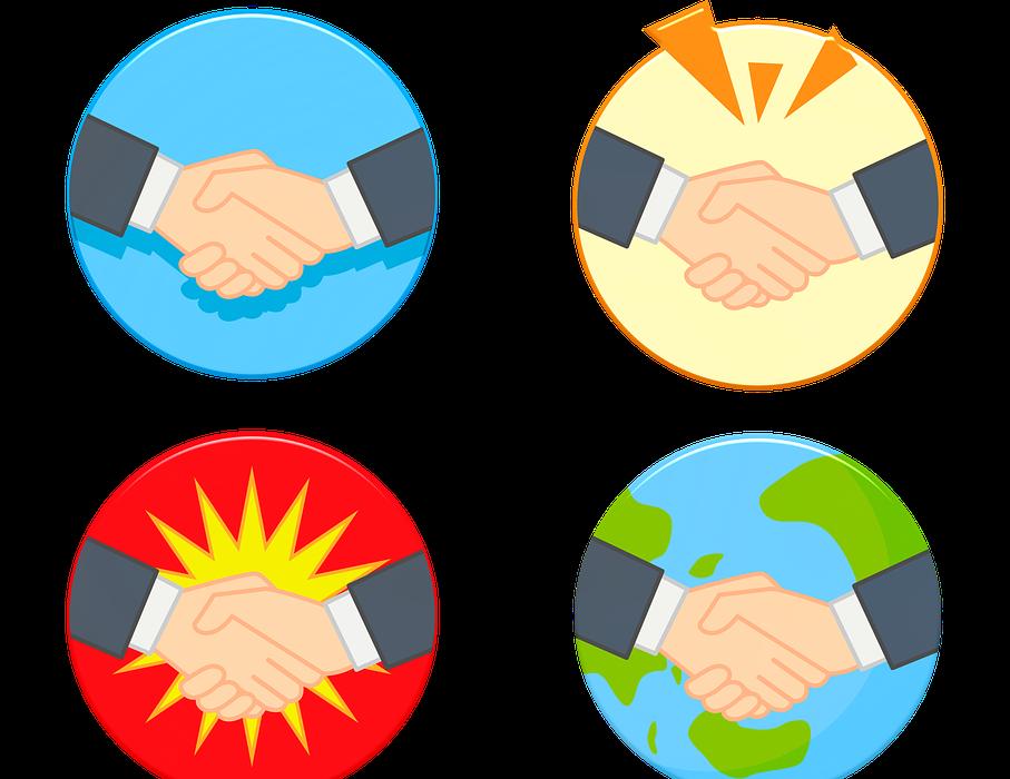 handshake, business, men