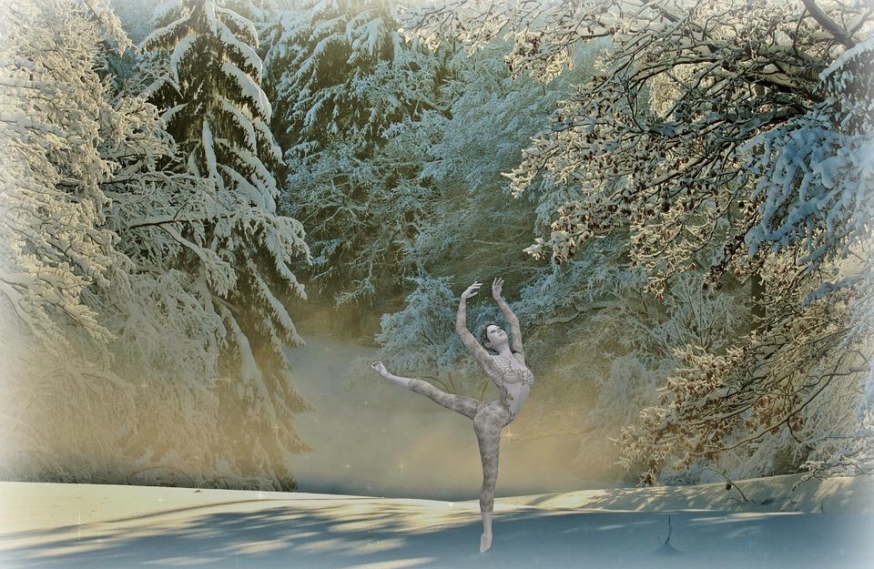 dancer, woman, winter
