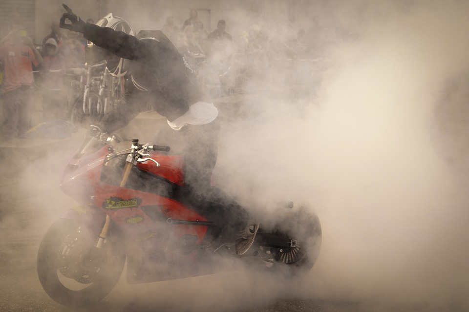 burn out, motorcycle, stunt