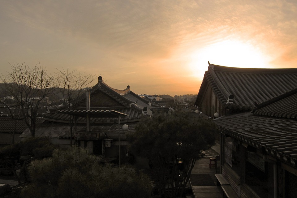 korea, houses, sunset