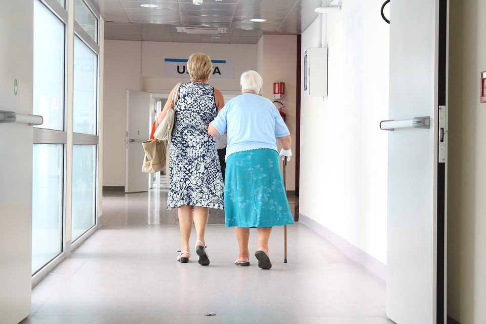 elderly, corridor, doctor