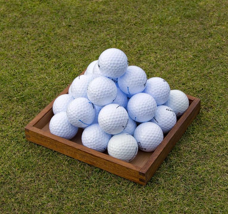 golf, golf balls, pyramid