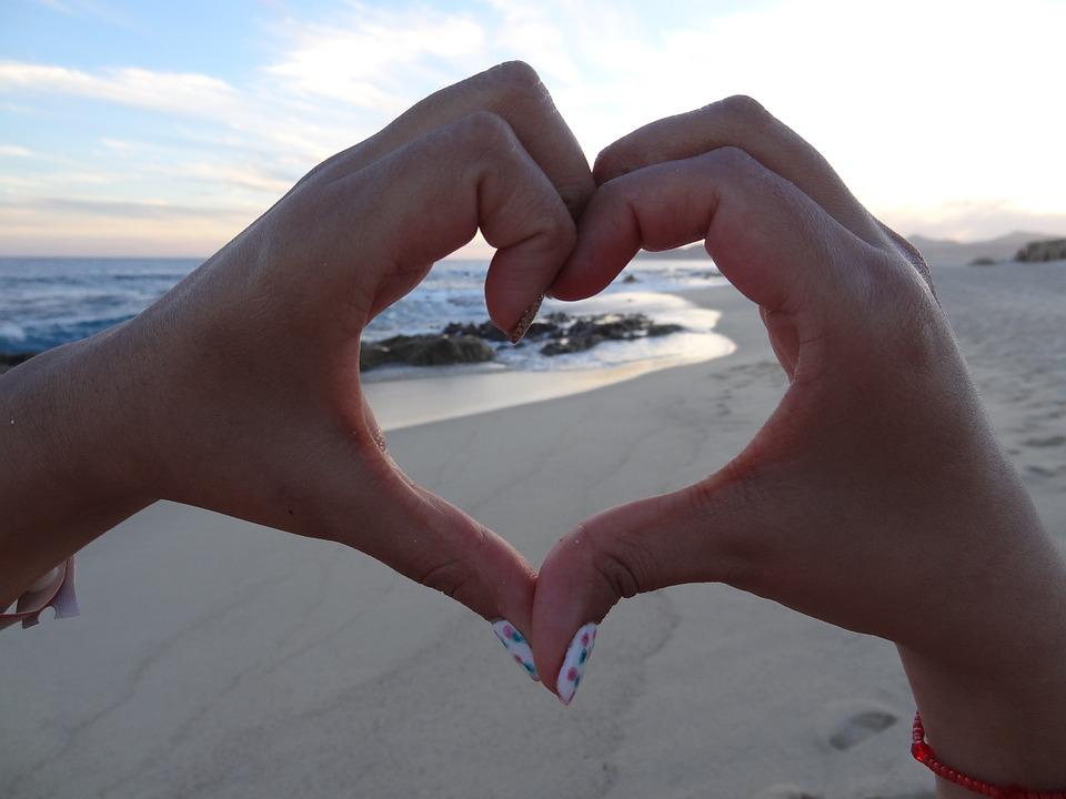 heart, beach, love