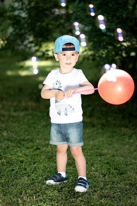 boy, balloon, play