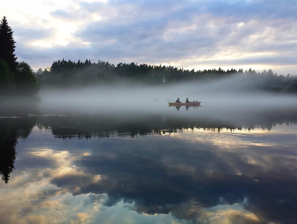 kayak, lake, nature