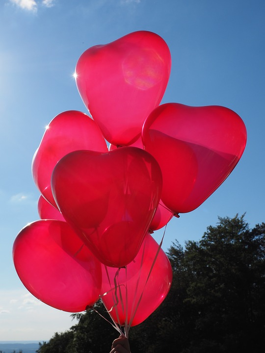 balloons, heart, love